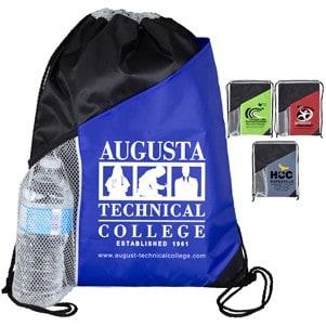 """""""Kamet"""" Drawstring Cinch Pack Backpack with Large Front Pocket and Mesh Side Pocket (13"""" x 17 1/2"""")"""