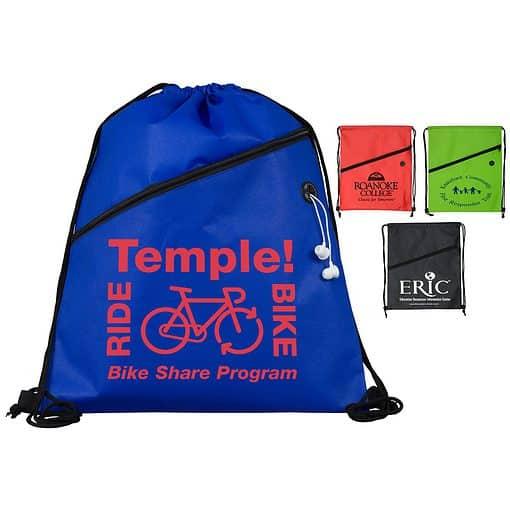 """Teton"" Drawstring Cinch Pack Backpack w/Ear Bud Slot (Overseas)"