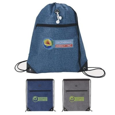 Denim Print Non-Woven Drawsting Backpack