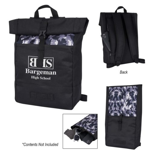 Camo Roll-Top Backpack
