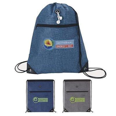 Good Value® Denim Print Non-Woven Drawsting Backpack